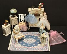 Pink White Blue Lady's Dressing Room Armoire Dress Forms Doll House Miniatures
