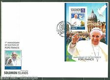 SOLOMON ISLANDS 2014 1st ELECTION  ANNIVERSARY OF POPE FRANCIS S/SHEET FDC