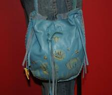 LUCKY BRAND Turquoise Blue Fringe Leather Floral Boho Tote Purse Crossbody Bag