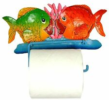 Kissing Fish Bath Toilet Paper TP Tissue Holder Haitian Metal Art
