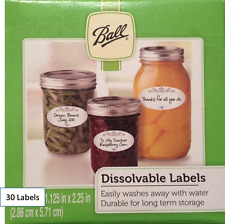 30 Ball Canning Jar Dissolvable Labels, No Packaging (30 Total Labels)