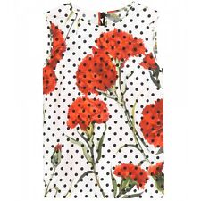 DOLCE & GABBANA White & Red Floral & Polka Dot Cotton & Silk Top 46, 10 U.S NWT