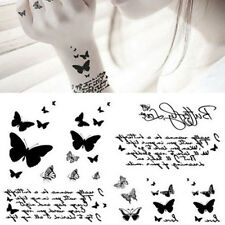 Black Butterfly Letter Transfer Waterproof Temporary Tattoo Body Art Sticker HF