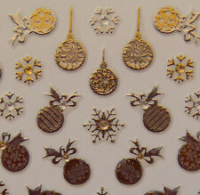 Nail Art 3D Sticker Goldtone Crystal Christmas Decor Snowflake 68pcs/sheet