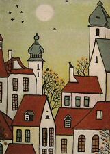 ACEO ABSTRACT FOLK ART PRINT OF PAINTING RYTA HOUSES CROW TOWN BLACK CAT TREES