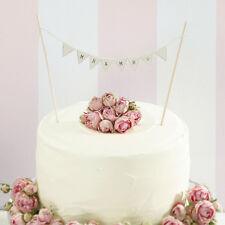 VINTAGE IVORY MR & MRS CAKE BUNTING, RUSTIC WEDDING CAKE DECORATION