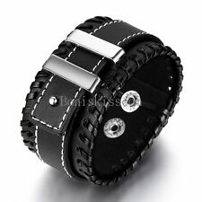 Punk Rock Mens Wide Black Leather Belt Cord Cuff Bangle Bracelet Wristband
