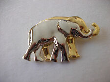 LIZ CLAIBORNE TWO TONED ELEPHANTS BROOCH PIN