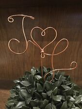 Initial Name Rustic Wedding Copper Wire Cake Topper Decoration Heart