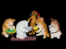 Takara Tomy Cat & dog drunk together figure (full set of five figures)
