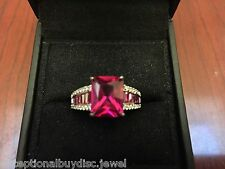 RUBY & BAGUETTE DIAMOND SAPPHIRE EMERALD CUT  ENGAGEMENT WEDDING RING SZ 7
