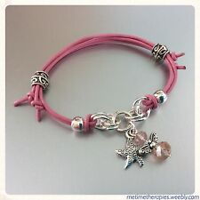 Pink Leather Heart Chakra Love Bracelet - Silver Starfish Charm & Crystal Angel