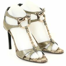 Gucci Metallic Gold Leather Open Toe Jeweled T-Strap Chain Heels Size 6.5B WOW