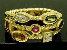R212- 9ct Gold Natural Fancy Sapphire & Diamond Ring Colorful Rainbow size M