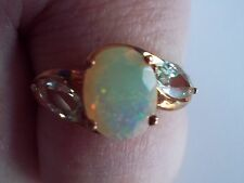 NEW QVC 9CT ROSE GOLD ETHIOPIAN OPAL AND GREEN BERYL RING SIZE U US 10 1/4