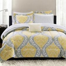 Yellow Gray King Size Comforter Set Complete Bedroom Bedding Bed in a Bag