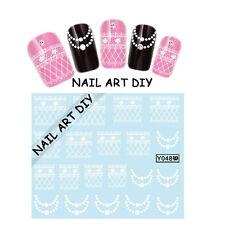 20 Adesivi per unghie FIORI bianchi con Pizzo-Stickers-Nail art water transfer!