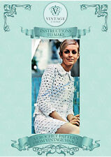 Vintage 1960s crochet pattern for fab mod jacket & miniskirt-modelled by Twiggy