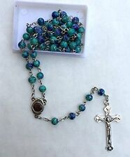 "19"" EILAT STONE Green/Blue Round Beads Christian Catholic Rosary with HOLY SOIL"