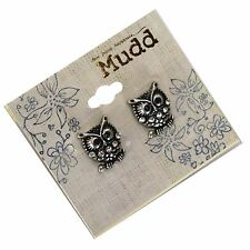 Mudd Owl Antiqued Silver Post Crystal Sparkle Small Earrings