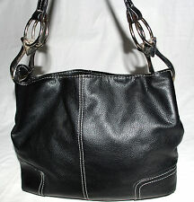 Black with White Stitching Pebbled Faux Leather Shoulder Bag w/ O Rings on Side