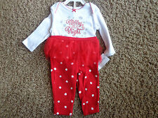CARTER'S girls NWT sz 3M red/white 2-piece LS bodysuit Merry & Bright w/tutu