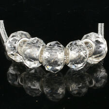 Crystal transparent 5pcs MURANO glass bead LAMPWORK fit European Charm Bracelet