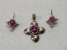 Sterling 925 Natural African Ruby Pendant And Dangle Earring Set