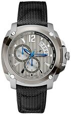 Guess Collection GC G78004G5 Bel Silver Dial Black Leather Strap Men's Watch