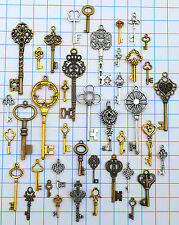 40 Vintage old look skeleton key lot pendant steampunk jewelry making 656