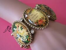 "BETSEY JOHNSON VINTAGE LUCITE CAMEO ""TO THE ONE I LOVE"" STATEMENT BRACELET~RARE"