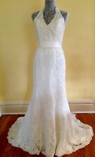 David's Bridal Strapless Lace Halter Wedding Dress Gown 8