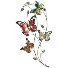 Metal Wall Art Decor Picture - Large Colourful 4 Butterflies on Branch 74 cm