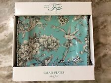 Adelaide Turquoise Square Salad Plates. Set Of 4. 222 Fifth. Porcelain. New.