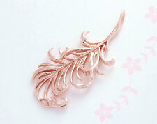 925 Sterling Silver Rose Gold Vermeil Style  Feather Pendant  14x30 mm.