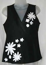 ANNE CARSON (SMALL / UK10 / EU38) BLACK LINEN SLEEVELESS TOP WITH WHITE FLOWERS