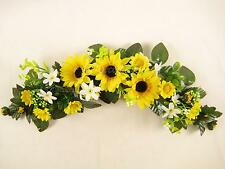 Yellow Sunflower Artificial Silk Flowers Swag / Slim Table Centrepiece