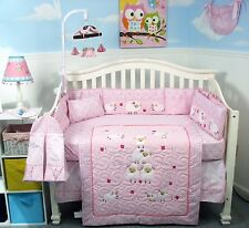 PINK CRIB BEDDING SET BABY SHEEP Infant Baby Girl Nursery 14 Pc Quilt Comforter+
