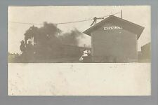 Stanley IOWA RP 1909 DEPOT TRAIN Station nr Oelwein Independence Fayette Aurora