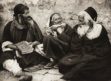 1925 Vintage JERUSALEM Jewish Men Chillin ISRAEL Palestine Religious Photo Art