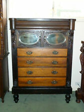 Magnificent Antique Victorian Chest of Drawers w Mirrored Cupboard Doors!