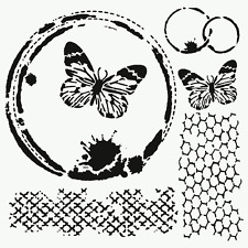 BUTTERFLY COLLAGE STENCIL TEMPLATES HONEYCOMB BIG STENCILS MIXED MEDIA CRAFT NEW
