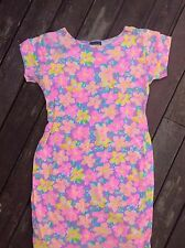ORIGINAL Vintage 80s FLURO floral body con festival mini dress 6 8 XS S FREEPOST