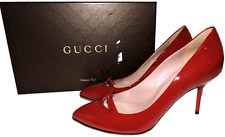 Gucci Red Patent Leather Pointy Toe Bow Detail Pump Heel Shoe 36 - 6 New