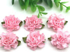 New 12pcs 25mm Carnations Satin Ribbon Flower For DIY Decoration Applique Pink