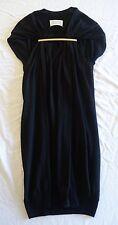 ~ MARTIN MARGIELA BLACK GATHERED KNIT DRESS W/ GOLD BAR (BLOGGER FAVE) ~ S
