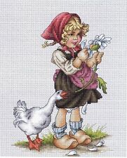 Girl With Goose Cross Stitch Kit In The Style Of Mabel Lucy Atwell 14 Count