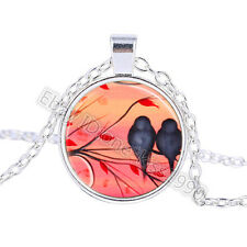 Vintage Red birds Cabochon Tibetan Silver Glass Chain Pendant Necklace BO086