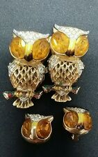 Coro Vintage Owl Duette Fur Clip Pin & matching earrings