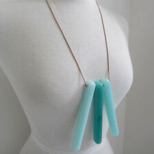 Gorgeous designer blue resin and leather necklace